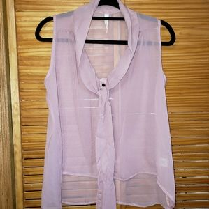My Beloved Hi/lo sheer button front collared top